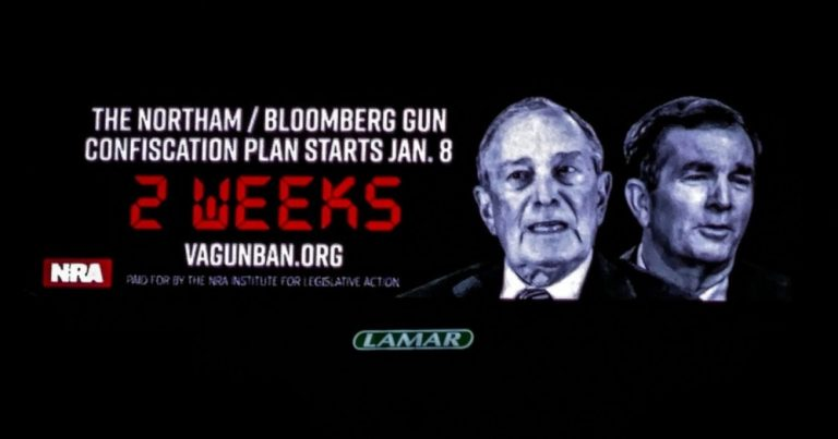 Billboards in Virginia warn: 'Northam/Bloomberg gun confiscation plan starts Jan. 8'