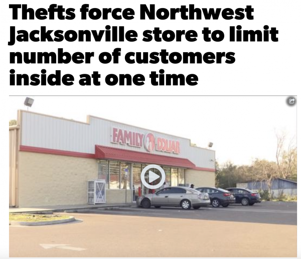 Because of High Levels of Theft, Family Dollar in 98.8% Non-White Community (82% Black) in Jacksonville, Florida Limits Number of People Allowed in Store
