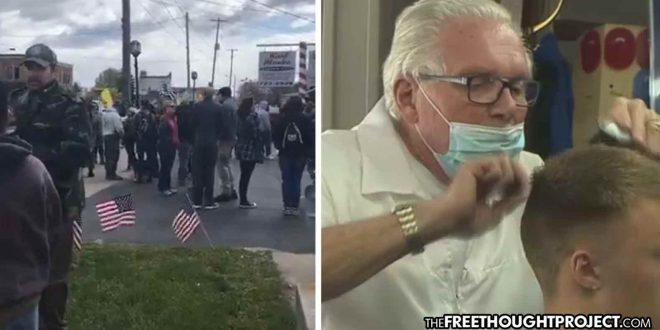 Armed Militia Successfully Blocking Cops from Arresting Barber for Defying Lockdown