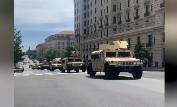 Helicopters and Military Humvees With Mounted Gun Turrets Deployed for Protests In D.C.