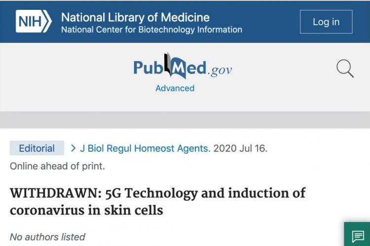 NIH Website Removes Study That Confirmed 5G Ties To Coronavirus After Reports Pointed To It