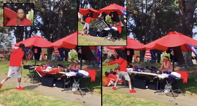 Viral Video: 'F*** Trump!' Thug Filmed Destroying Woman's Trump Stand While Shouting Racial Slurs