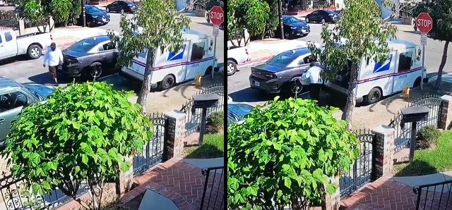 Video Shows Masked Man 'Robbing Mail Truck in Long Beach, CA'