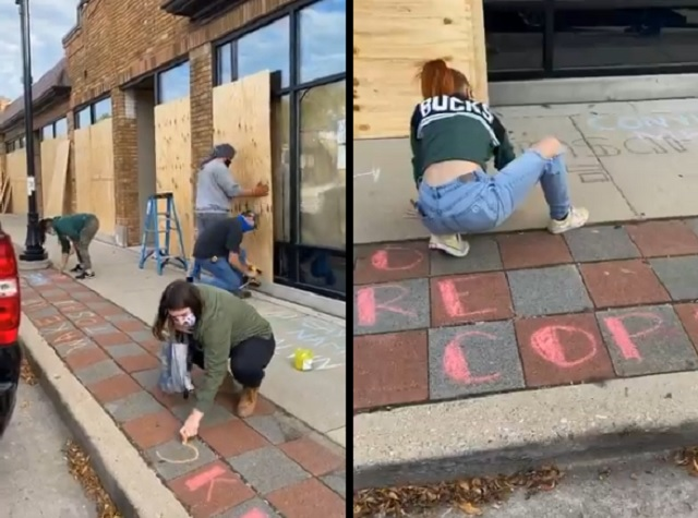 Wisconsin: Small Biz Owners Board Up Shops, Scrawl BLM Propaganda On Property Ahead of Charging Decision