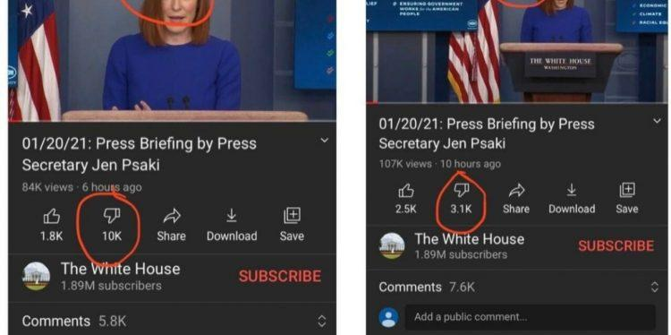 YOUTUBE CAUGHT RED-HANDED Removing Dislikes From Biden White House Page — Disables Comments After Avalanche Of Anti-Biden Responses