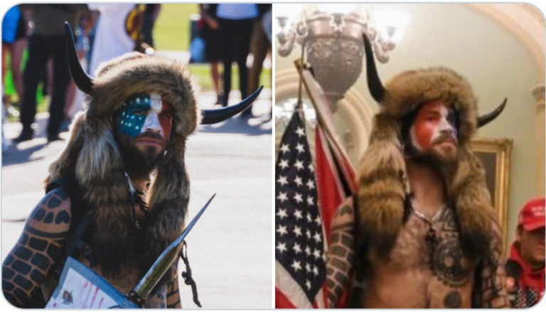 "FALSE FLAG CONFIRMED: ""Viking"" who stormed the Capitol Building previously photographed at BLM rally wearing the same outfit"