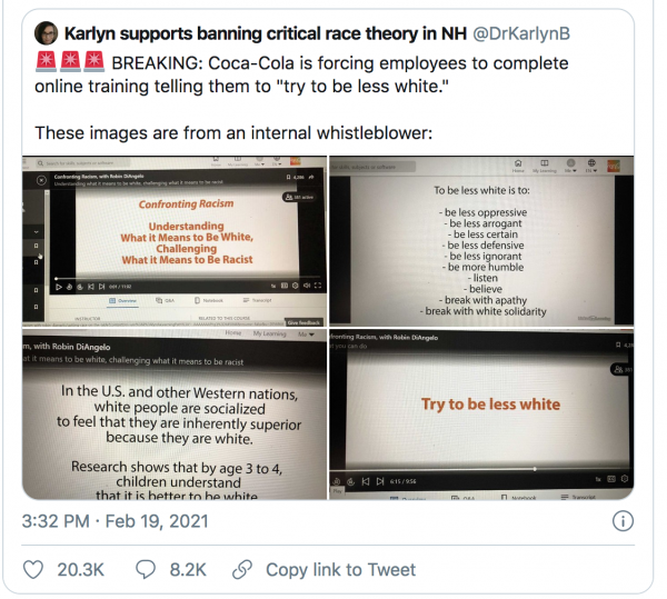 """When Race Isn't a Social Construct, But Something to Bludgeon White People with on a Never-Ending Basis: Coca-Cola Forces Employees to """"Try to be Less White"""""""