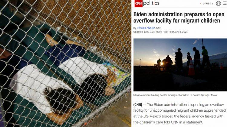"Under Biden, Mainstream Media Rebrands ""Kids In Cages"" To ""Overflow Facility"""