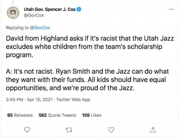 "In Overwhelmingly White Utah, Republican Governor of State Claims NBA's Utah Jazz Scholarship Program Available to Only Non-Whites Isn't Racist… Because It Creates ""Equal Opportunities"""