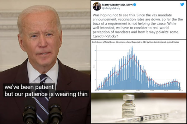 Vaccination Numbers Still Trending Down Despite Biden's Mandates, CDC Dashboard Suggests