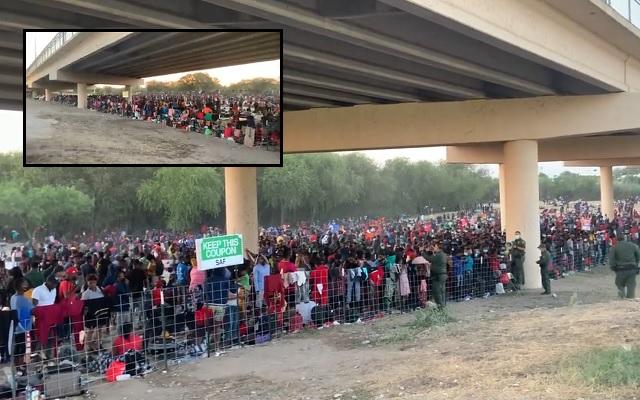 Fox News Drone Finds Over 8,200 'Majority Haitian' Migrants Under Texas Bridge After Illegally Crossing Border